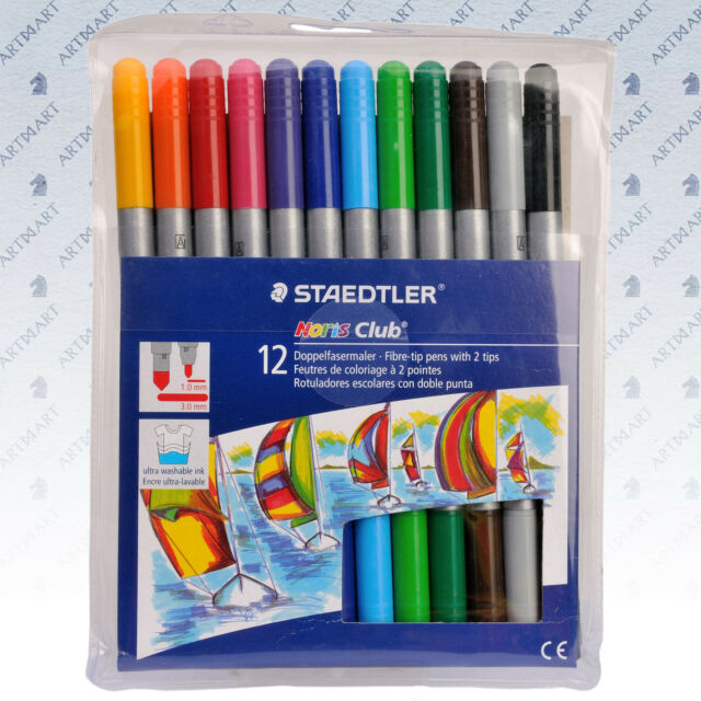 Staedtler 12 Colouring 2-Sided Drawing Art Noris Club® Felt Tip Pens Markers Set