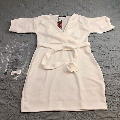Boohoo Women's Plus Off Shoulder Tie Dress White US 14 UK 18