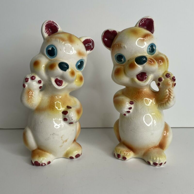 """Vintage Salt And Pepper Shakers Puppies 🐶 Waving  6.5"""" Tall B895 Japan"""
