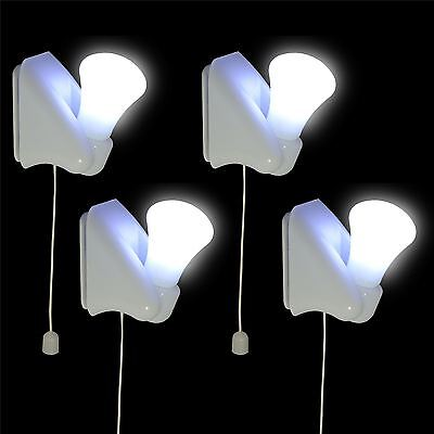 4x Stick On LED Light Bulbs Wall Mounted Self Adhesive Night Lamp Indoor Cabinet