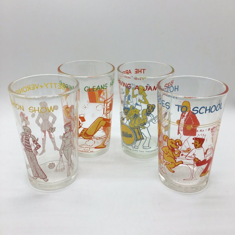 1971 Archie Comics Collectible Glasses Lot Of 4