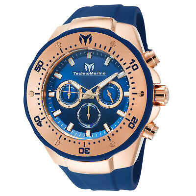 Technomarine TM-218033 Manta Men's 48mm Rose Gold-Tone Blue Dial Watch