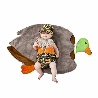 Baby Newborn Plush Soft Duck Hunter Warm Halloween Costume Swaddle Infant 0/3M (Infant Halloween Duck Costume)