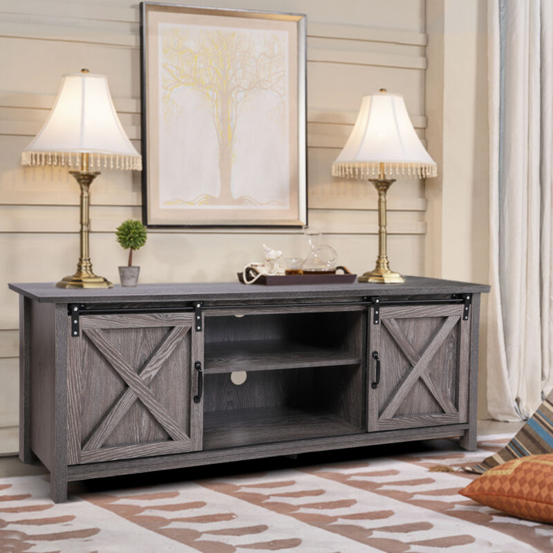 """58"""" Farmhouse Sliding Barn Door TV Stand TVs up to 65""""  Console Storage Cabinet"""