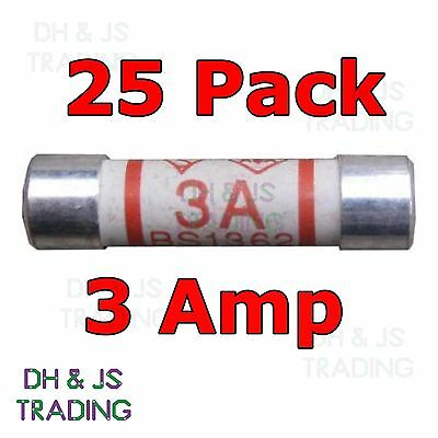 25x 3a Domestic Fuses Plug Top Household Mains 3amp Cartridge Fuse