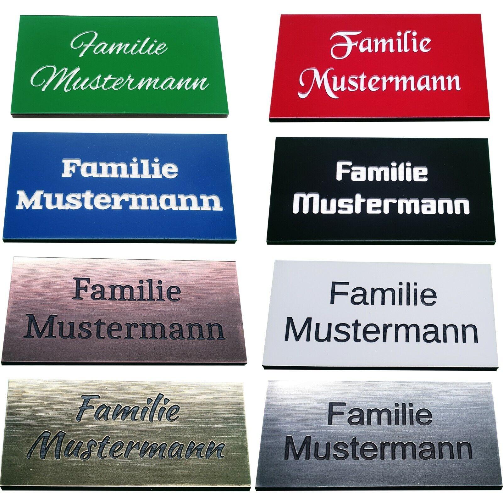 Briefkastenschild Klingelschild Türschild Namensschild mit Gravur