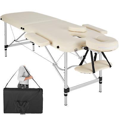 Camilla de masaje en aluminio mesa banco de masaje 2 zonas beige + bolsa