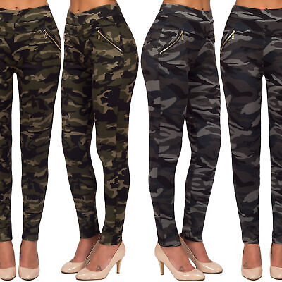 Women's Camouflage Military High Waist Gold Zip Pockets Casual Pants Leggings