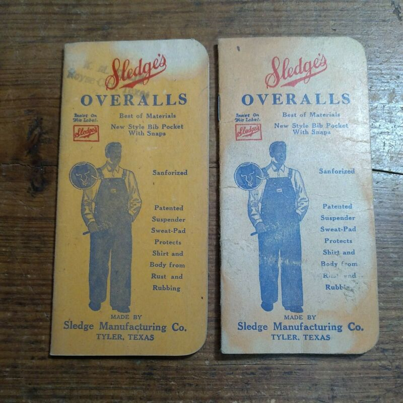 2 VINTAGE SLEDGES OVERALLS & WORK CLOTHING NOTEBOOKS FAIR - GOOD USED CONDITION