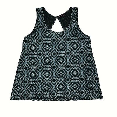 Fresh Produce Womens Black Blue Abstract Tank Top Size Large Sweet Womens Tank Top