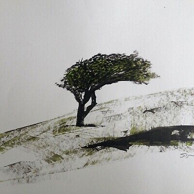 Original signed Ink sketch painting of a Moorland Landscape A4