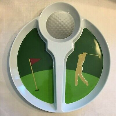 Golf Theme Party (Golf Theme Melamine Chip & Dip Plate Tray Golf Ball Tee For 19th Hole Party)