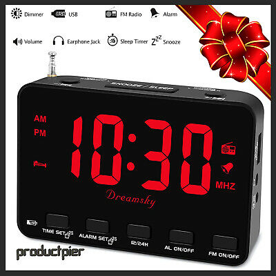 Digital Bedside Alarm Clock FM Radio w/ USB Charger Earphone Jack Snooze 12/24H