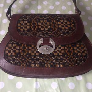 tapisserie art d co r tro vintage en cuir marron grab sac main femme femme rare ebay. Black Bedroom Furniture Sets. Home Design Ideas