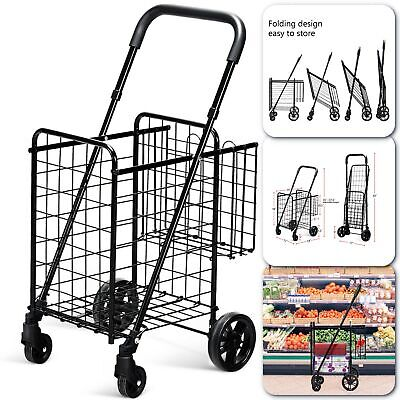 Shopping Cart Outdoor Folding Jumbo Basket Rolling Trolley Grocery High Quality