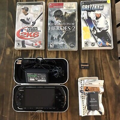 Sony PSP 3001 Playstation Portable Black System Bundle Lot Games & Case Clean