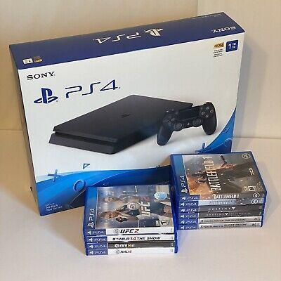 Sony PS4 1TB Slim Bundle - Console - Dualshock Controller - 10 Games Sports War