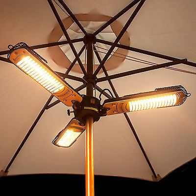 Electric Parasol Heater, Halogen Bulbs and Fold down Arms by Fire Mountain