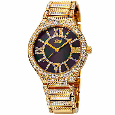 Women's Burgi BUR185YG Black Dial Crystal Gold Tone Stainless Steel Watch