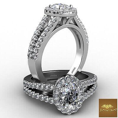 Halo Split Shank Oval Shape Diamond Engagement French Pave Ring GIA I SI1 1.47Ct 4