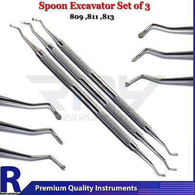 Dental Excavator Set Of 3 Composite Restorative Spoon Instruments Double Ended