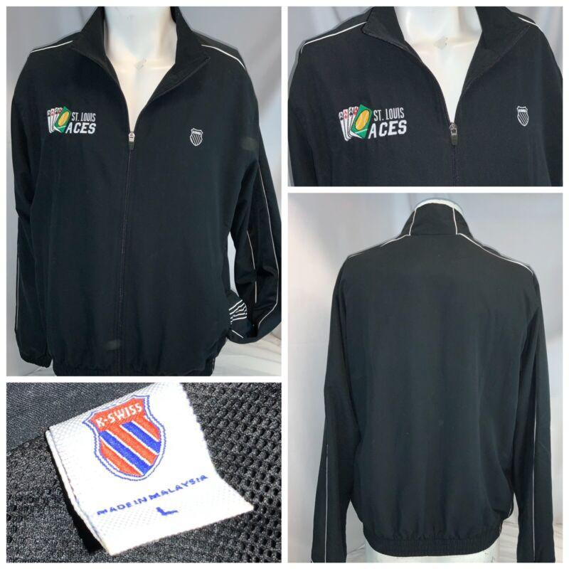 K Swiss Tennis Warmup Jacket L Men Black Poly Full Zip St. Louis Aces YGI D0-506