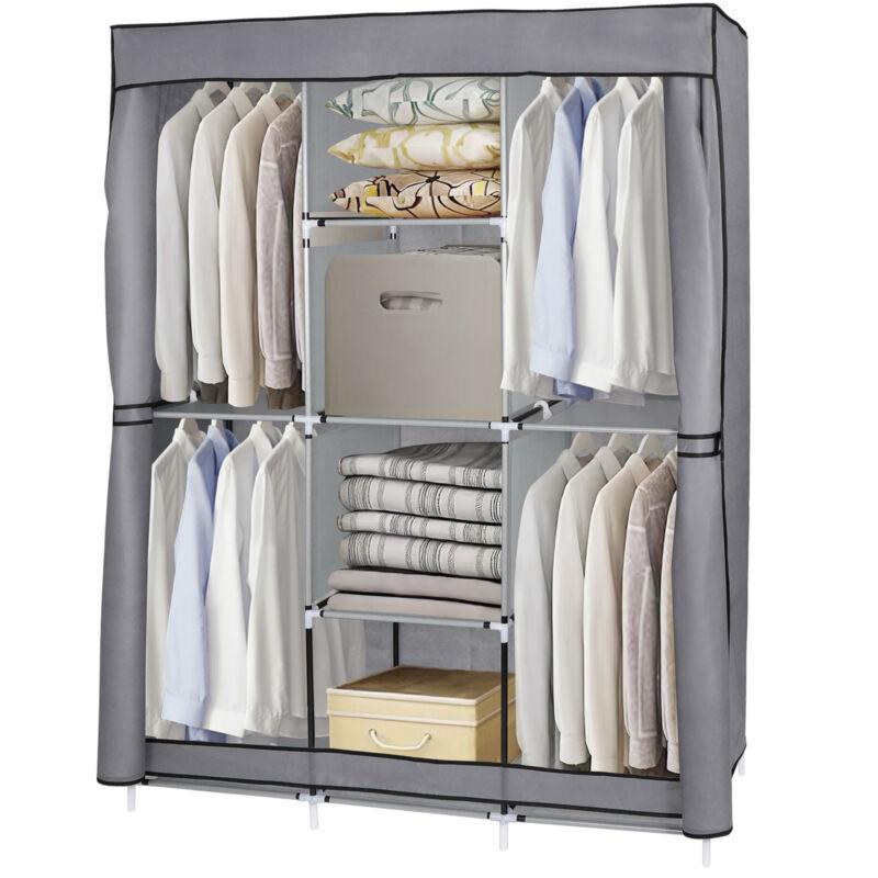 Portable Clothes Storage Closet Organizer Wardrobe Rack Shelves Fabric Steel