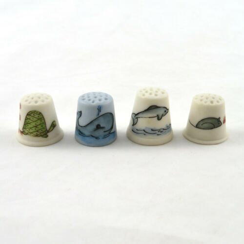 Vintage Nicland Thimbles Hand Painted 1978 Mouse Whale Turtle Dolphin - Set of 4