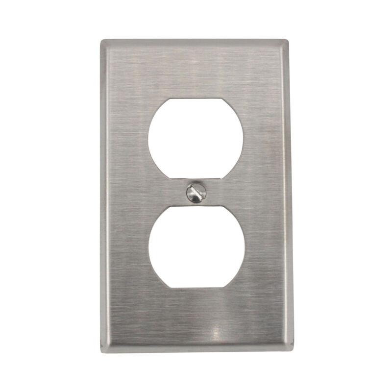 LEVITON 84003-40 DUPLEX OUTLET RECEPTACLE WALLPLATE, 1-GANG, STAINLESS STEEL