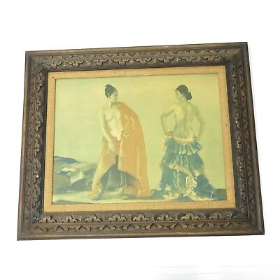 Vintage W Russell Flint Partial Nude Dancers Ornate Hand Carved Frame Artwork