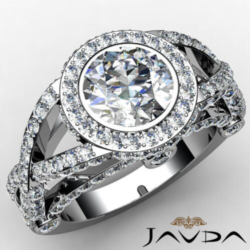 Round Diamond Engagement Halo Cross Shank Ring GIA F VS1 14k White Gold 2.97ct