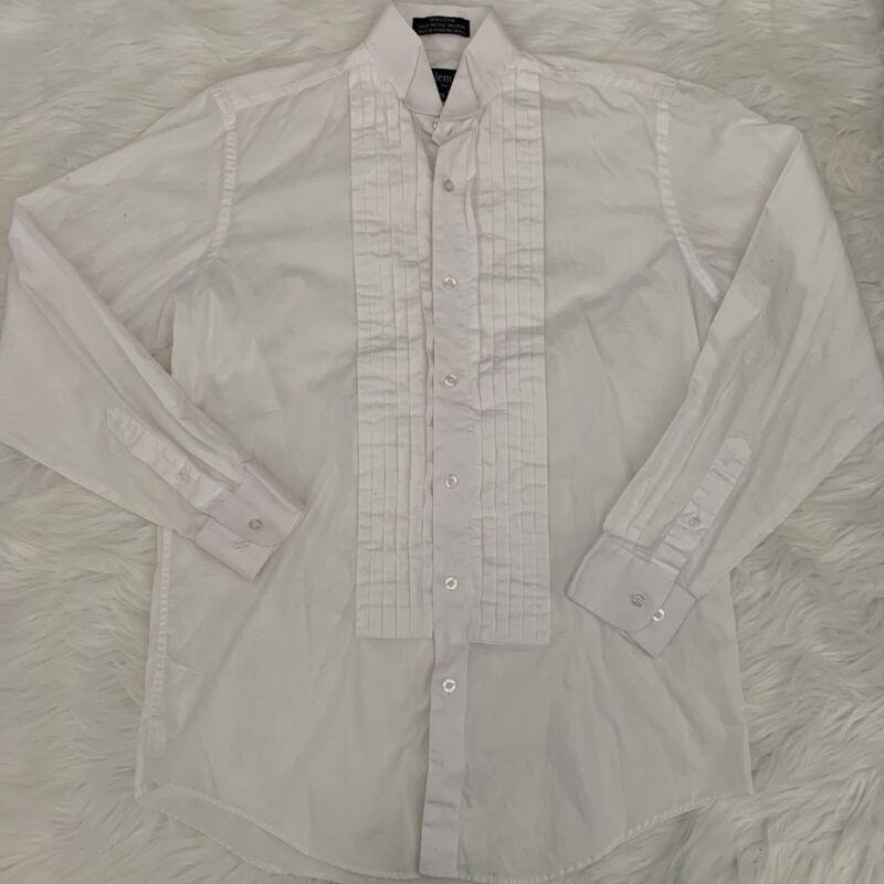 Mens M Medium Valentino White Button Dress Tux Pleated Shirt