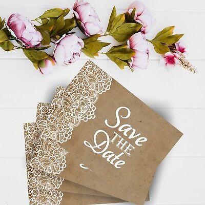 10x Save the Date Karte Wir heiraten craft paper Vintage Hochzeit Vorankündigung ()