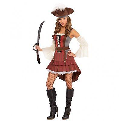 Lady Pirate Fancy Dress (Castaway Pirate Buccaneer Swashbuckler Ladies Womens Adults Fancy Dress)
