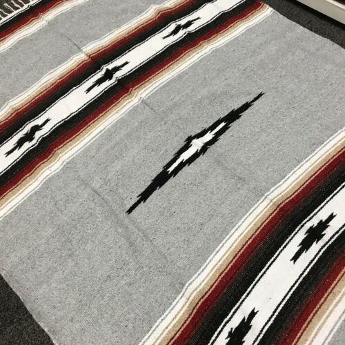 Mexican Blanket Grey Diamond Stripes White Tan Gray USED Serape Falsa Throw XL