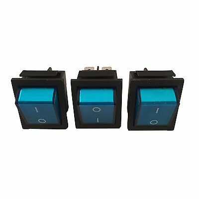 3 X Switch Blue Button 4 Pin Dpst Onoff Illuminated Rocker Ac 250v 1520a Car