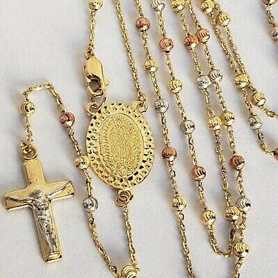 14k Solid 3 Yellow Gold Rosary Beads virgin Mary crucifix Jesus Cross -