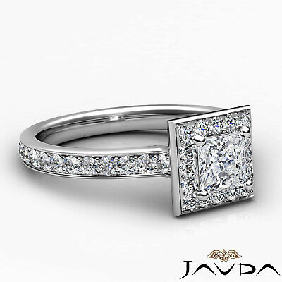 Halo Cathedral Micro Pave Princess Cut Diamond Engagement Ring GIA F SI1 0.95Ct 9