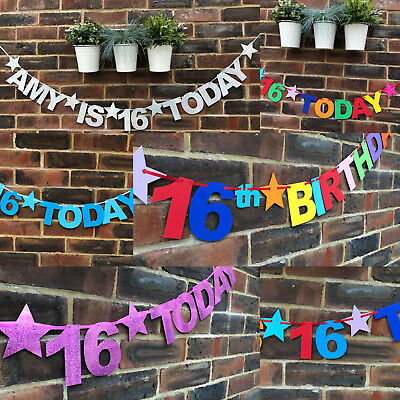 Personalised 16th Birthday banner Happy 16th birthday LOOK WHOS 16 TODAY Bunting