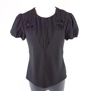 Rojo-VALENTINO-Camiseta-Talla-D-36i-42-Negro-Plisado-Ornamento-NP-399-NUEVO