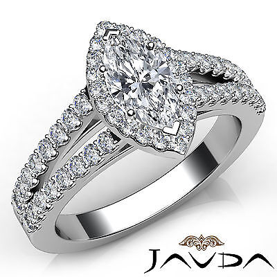 Halo Split Shank Marquise Diamond Engagement French Pave Ring GIA F VVS2 1.96Ct
