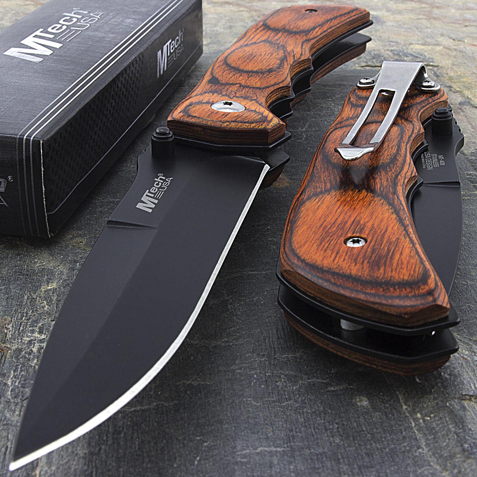 "Knife - 7.75"" MTECH USA RED WOOD SPRING ASSISTED FOLDING POCKET KNIFE Blade Open Assist"