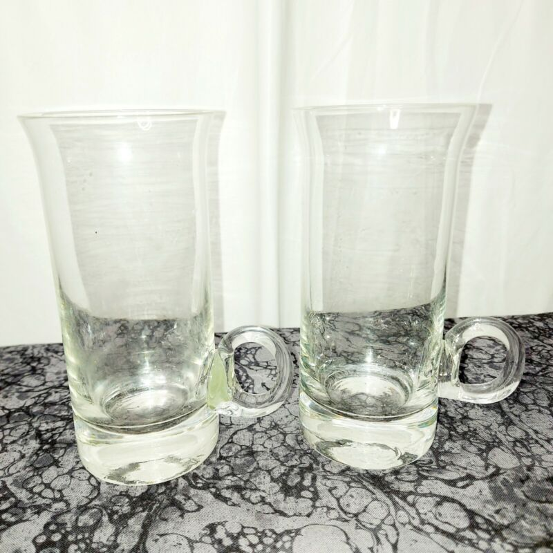 "Vintage Mid Century Modern clear glasses set  2  5.5"" tall 2.5"" in diameter 8oz"