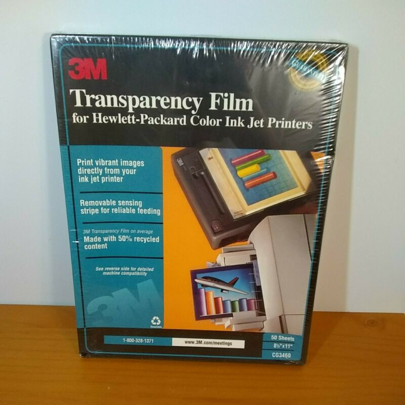 3M Transparency Film For Hewlett-Packard Colered Ink Jet Printers NIB 50 Sheets