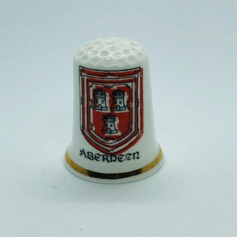Birchcroft Fine Bone China Souvenir Thimble - Aberdeen Scotland Coat of Arms