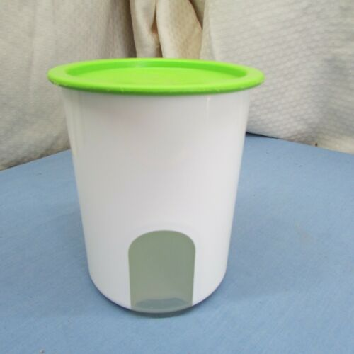Tupperware One Touch Canister White w/Lime Green Lid  2422B