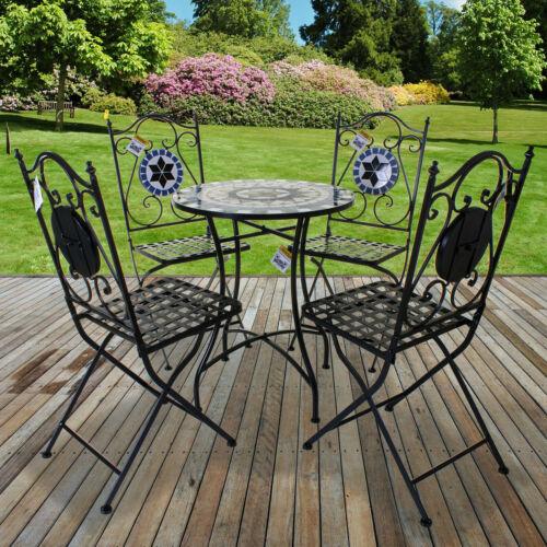Garden Furniture - Mosaic Bistro Set Outdoor Patio Garden Furniture Dining Set Table Folding Chairs