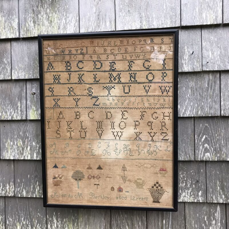 Antique Early American 19th Century Sampler 1840 Alphabet Needlework Framed