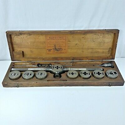 Russell Mfg Co. Greenfield Mass. Tap Die Set W Original Box - Missing 2 Taps