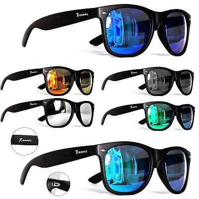 Markenbrille Sonnenbrille Verspiegelt Nerd Schwarz Grün Orange Silber - Schwarze Brille